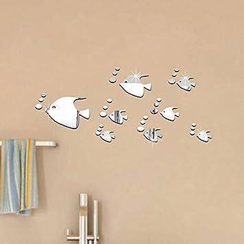 Pegatina baño pared vinilo decorativo acrilico efecto espejo peces ...