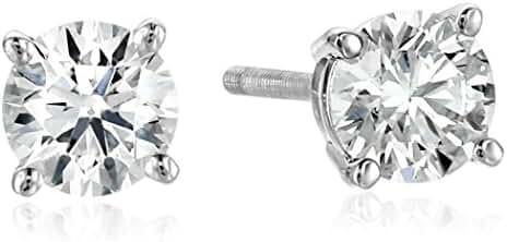 IGI Platinum Round Cut Diamond Stud Earrings (1/4 - 4 cttw, G-H Color, VS2 Clarity)
