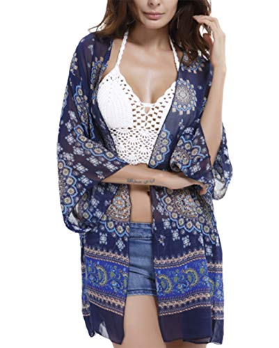 Women Chiffon Floral Kimono Half Sleeve Bikini Cover Up Casual Cardigan Capes Tops (Medium, G-Navy)