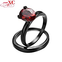 Cherryn Jewelry Bridal Sets Wedding Ring Black Gold Filled CZ Couple Ring Ruby Jewelry Wedding Engagement Jewelry RB0415
