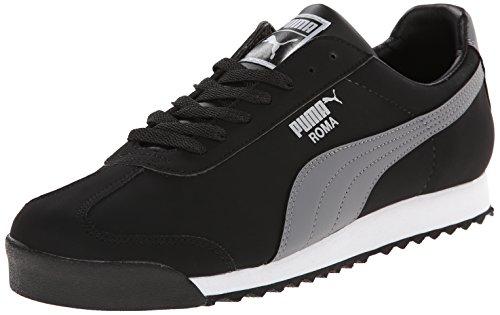 PUMA Men's Roma Blocks Sneaker, Black/Steel Gray/White, 11 M US