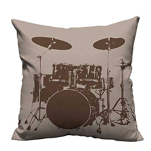 (YouXianHome Lovely Cushion Covers Drum Kit for Bass Rythm Lovers Ba Dum TSS Image Sketchy Art Resists Stains(Double-Sided Printing) 24x24 inch)