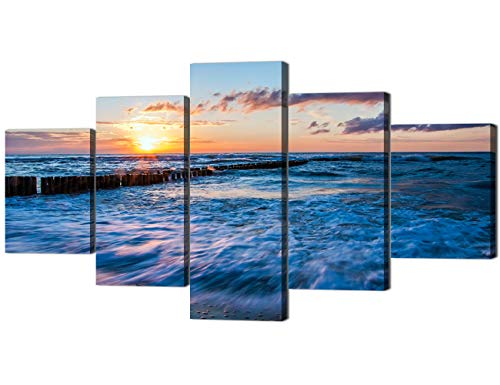 Yatsen Bridge 5 Panels Canvas Wall Art Waves Crashing on Beach at Sunset Painting on Canvas Modern Home Decor Stretched and Framed Ready to Hang - 60