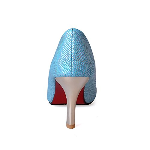 Heels PU Women's Closed Solid Pumps Shoes Pointed Blue Kitten on Pull Toe WeenFashion qw6EUBxU