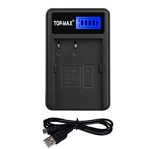 TOP-MAX EN-EL3e USB Charger with LCD Screen for EN-EL3e Batt