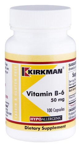 Kirkman Vitamin B-6 50 mg - Hypoallergenic || 100 Vegetarian Capsules || Gluten/Casein Free || Tested for more than 950 environmental contaminants.