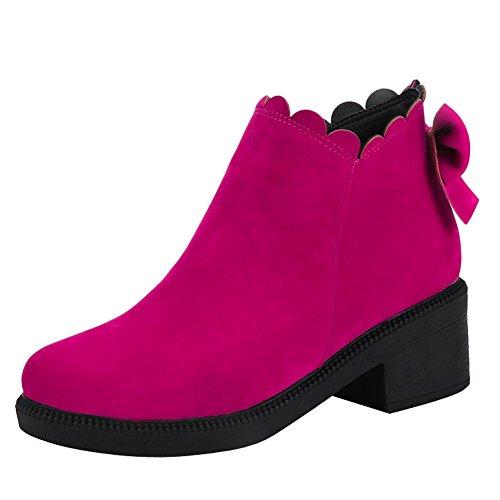 Mee Shoes Damen süß chunky heels Schleife ankle Boots Rosarot