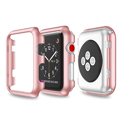 Price comparison product image Owill Slim Electroplate Compact Design PC Hard Case Cover Protect Shell For Apple Watch Series 3 38MM (Rose Gold)