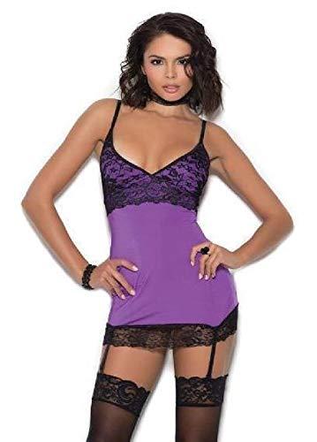 ESSA OAT clothes series Satin Lace Chemise Garters Criss Cross Back V Neckline Lingerie Lavender
