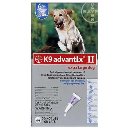 K9 Advantix II 12 Pk Blue Dog Over 55 lbs by Bayer K9 Advantix II