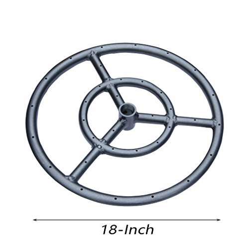 Onlyfire 18 Inches Black Steel Round Fire Pit Burner Ring, Double Ring (Ring Propane Fire)