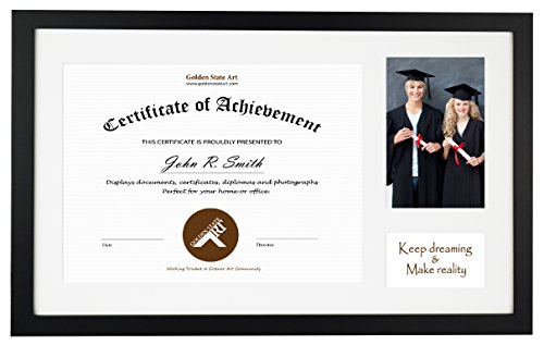 (Golden State Art, 11x17.5 Wood Frame for 8.5x11 Certificate & 4x6 Photo with Single Mat (White core), or 11x17.5 Without Mat for 11x17 Document, Real Glass, Color Black (Picture Frame))