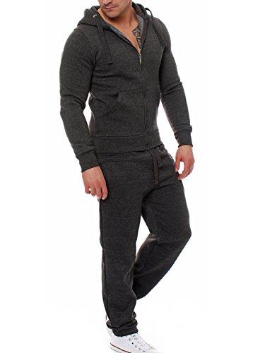 - Anbech Men's Solid Zipper Pocket Casual Sports Hoodie Set Comfy Simple Slim Tracksuits (Dark Gray, 2XL)