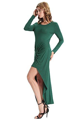 Swallow Irrégulière Sexy Des Femmes Dooxilady Queue Manches Longues Moulante Vert Robe