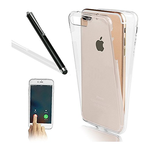 iPhone 7 Plus Case,iPhone 7 Plus TPU Cover,Leeook Ultra Thin Transparent Clear Design Shockproof Cover Soft TPU Silicone Slim Fit Scratch Resistant Front and Back Full Body 360 Degree Protection Gel Bumper Case for Apple iPhone 7 Plus 5.5 inch + 1 x Free Black Stylus