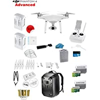 DJI Phantom 4 ADVANCED Quadcopter Drone with 1-inch 20MP 4K Camera KIT + 2 Total DJI Batteries + 2 SanDisk 64GB Micro SDXC Cards + Reader 3.0 + Prop Guards + Charging Hub + Range Extender + Backpack
