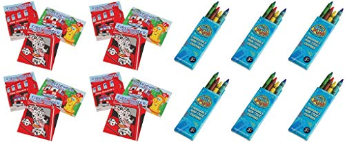 HAPPY DEALS ~ 24 Pc Fireman Party Favors Lot -Includes (12) Fire Fighter Mini Coloring Books and 12 Boxes of Washable -