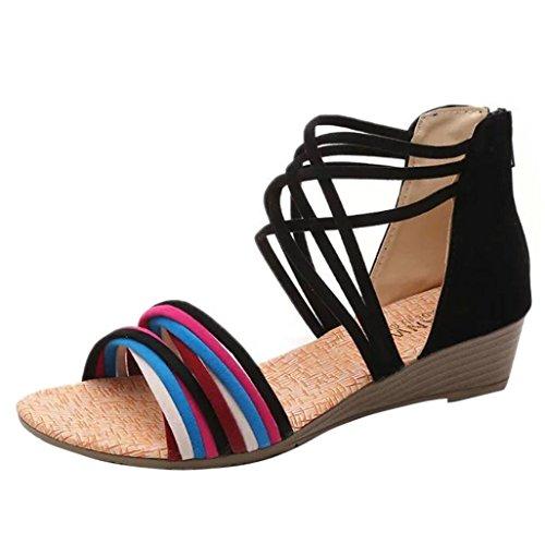 bescita Neue Fashion Frauen Sommer Böhmen Hausschuhe Flip Flops Flache Sandalen Strand Tanga Schuhe (38, Schwarz)
