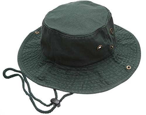 Down Under Cotton Hat (Summer Outdoor Boonie Hunting Fishing Safari Bucket Sun Hat with adjustable strap(Dark Green,LXL))