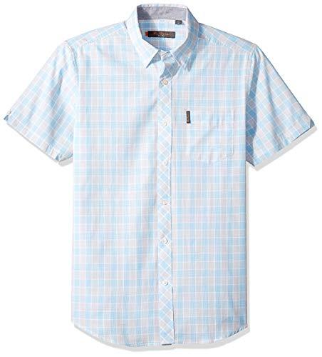- Ben Sherman Men's SS CHECKRBRD Check Shirt, Light Blue, XL