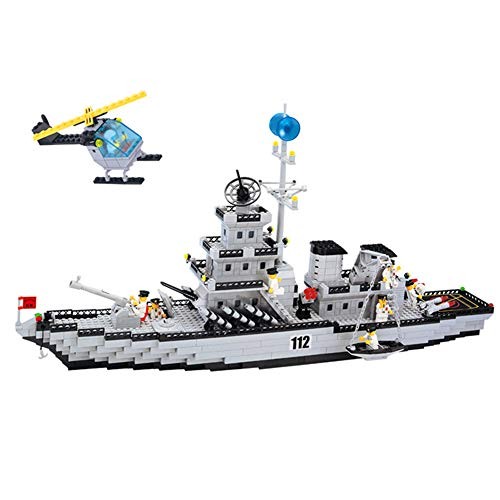 - Model Building Blocks DIY Military Army Battle Cruiser Ship Helicopter Set Children's Educational Building Blocks Brick Toy Gifts