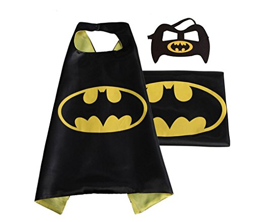 [Rush Dance Deluxe Comics Satin Unisex Super Hero CAPE & Matching MASK (Yellow & Black (Bat Baby))] (Cars Movie Costumes)