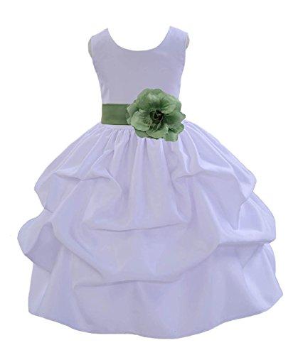 ekidsbridal Wedding Pageant Holiday White Pick-up Flower Girl Satin Dress Baptism Communion 208T 2