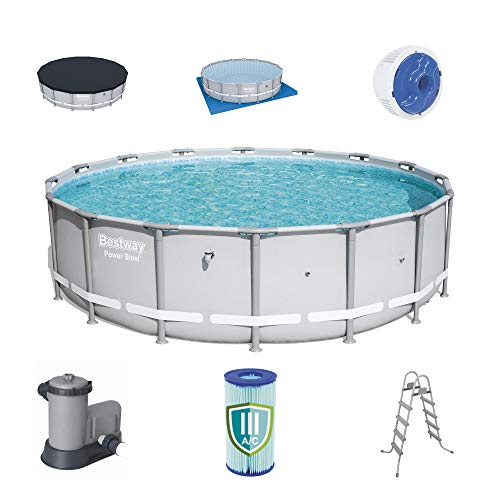 Bestway 18ft x 51.6in Reinforced Power Steel Frame Above Ground Swimming Pool Set with 1500 Gallon...