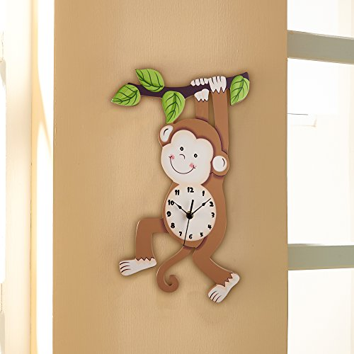 Fantasy Fields - Sunny Safari Monkey Wall Clock, Silent, Decorative Animal Design for Nursery Kids Bedroom, with Eco-friendly and non-toxic water-based paints, Brown