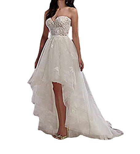 Lange Vintage Ballkleider Rustikale W Brautkleider Tuell O Damen Kurze Elfenbein D Hochzeitskleider Spitze w60nEqF