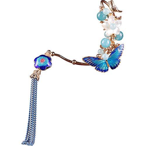 CHICHUN Handmade Agate Earrings for Women Cloisonne Butterfly Tassels Eardrop 1pair