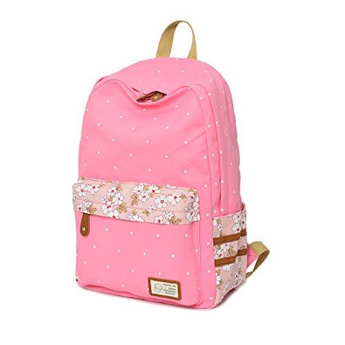 Lemcool Canvas School Backpack Travel Backpack for Girls Lightweight Bookbag 16Inch Laptop Bag (Pink)