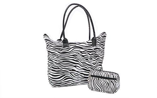 - Ladies Womens Beach Shopping Shoulder Bag Animal Print and Small Animal Print Cosmetic Bag SET (Zebra Print)