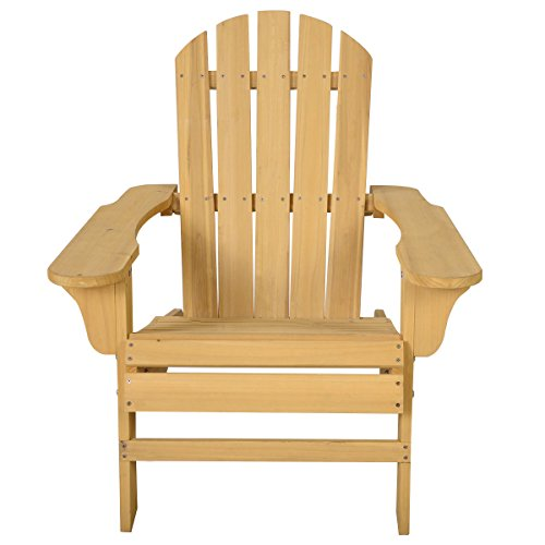 Outdoor Natural Fir Wood Adirondack Chair Patio Lawn Deck Garden Furniture for relaxing on the deck, by Heaven Tvcz