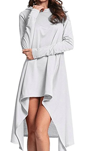Long Loose Irregular Casual Long s Hem Domple Sleeve Hoodie Pullover Dress Women White vEBpz