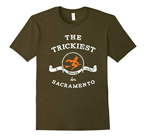 Halloween In Sacramento (Mens The Trickiest Witch In SACRAMENTO Halloween T-Shirt Funny Small Olive)
