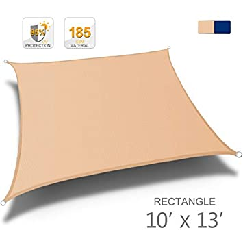 MOVTOTOP Sun Shade Sails 10×13 FT Rectangle, 185 GSM Thicker Outdoor Shade Block 95 UV Keep Cool for Deck, Patio, Pergola, Backyard Outdoor Sand