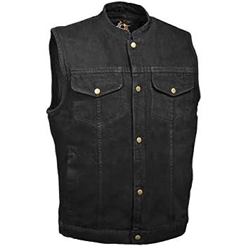 Amazon.com: Mens Black Denim Jean Motorcycle Vest Gun Pockets 2XL ...