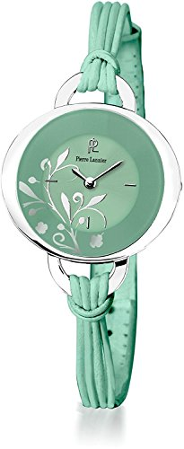 PIERRE LANNIER watch flower pattern colorful oval string mint green P042F677 Ladies