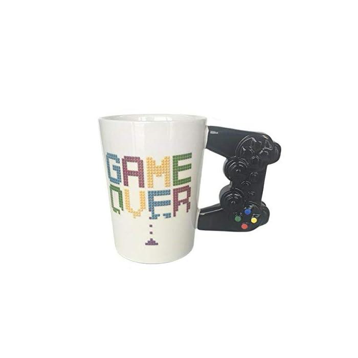 41Cd0pPv3NL Taza de Cerámica Diseño Original de controlador de consola Frase: Game Over