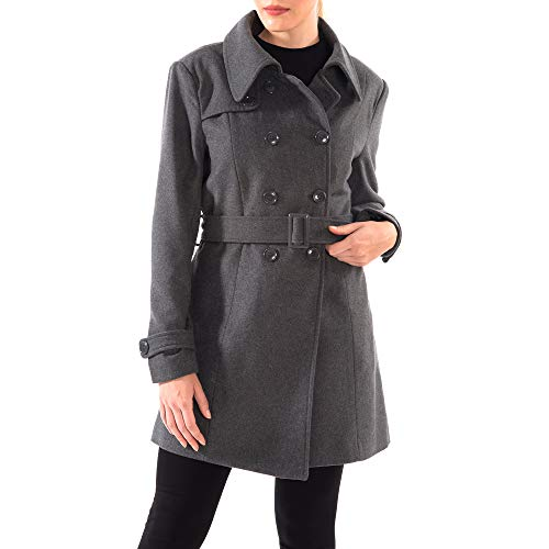 alpine swiss Womens AS712 Keira Wool Double Breasted Belted Trench Coat