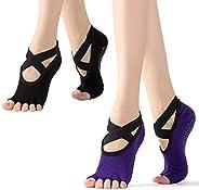 Gearmax 2 Pairs Women Yoga Socks,Non-Slip Five Toe Socks,Pilates Socks with Grips,Toeless Anti Slip No Show An