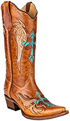 Corral Womens Wing and Cross Embroidery Western Snip Toe Boots