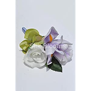 Gorgeous Artificial Purple Iris and Ivory Rose Buttonhole with Hydrangea 4