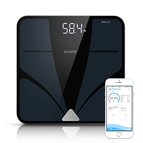 Letsfit Bluetooth Body Fat Scale, Smart Wireless Digital Bathroom Weight Scale, Large Backlit Display Free Smartphone App, Body Composition Analyzer Weight Body Fat BMI Muscle Bone Water Weight