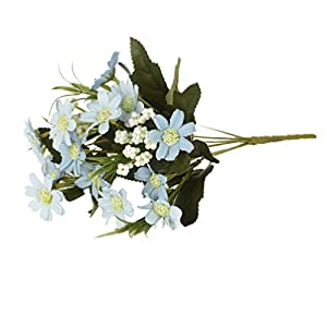 Artificial Flower 6 Branch per Bounquet Artificial Small Daisy for Home Decor Without Vase & Basket, 1 Flower, Light Blue 55