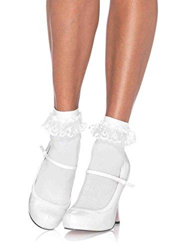 Leg Avenue Women's Lace Ruffle Anklet Socks, White, One Size Bobby Socks