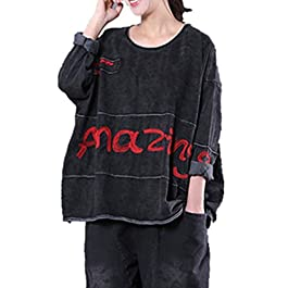 YESNO WB2 Women Casual Loose T-Shirt Distressed Tops Words Embroidery Patchwork Stitched Long Sleeve