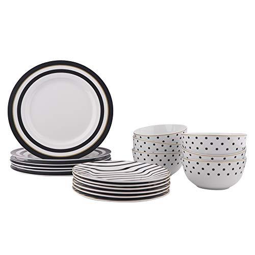 AmazonBasics 18-Piece Kitchen Dinnerware Set, Dishes, Bowls, Service for 6, Modern Elegance