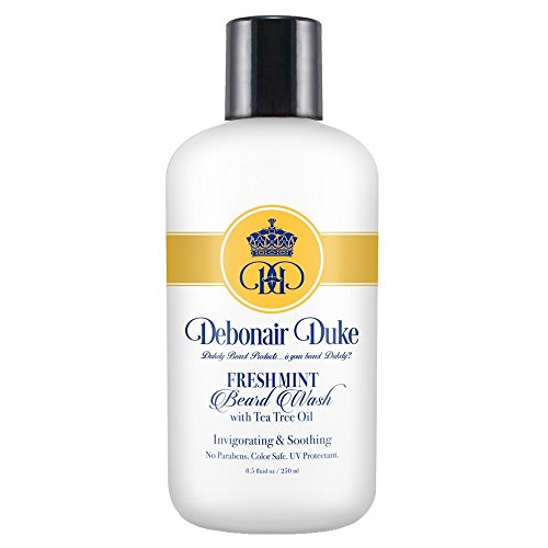 Debonair Duke Fresh Mint Beard Wash/Shampoo with Tea Tree Oil-Best All Natural Men's Deep Cleaning & Clarifying Shampoo for All Hair Styles-Invigorating & Soothing-Moisturizes Hair, Scalps, & Beards Deep Cleaning Hair Shampoo